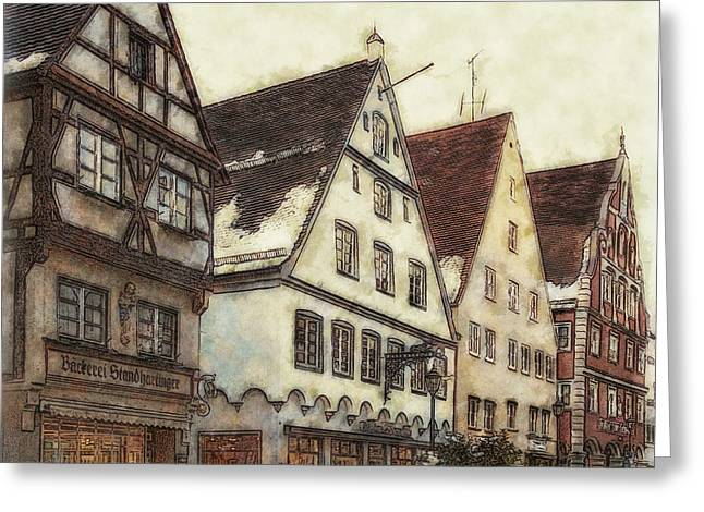 Winterly Old Town Greeting Card by Jutta Maria Pusl