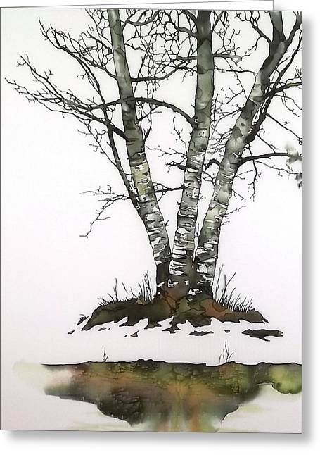 Dye Tapestries - Textiles Greeting Cards - Winters Birch Greeting Card by Carolyn Doe