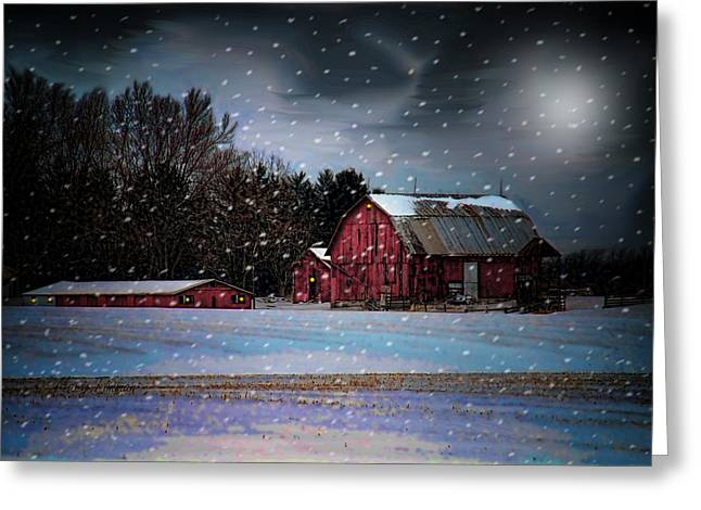 Shed Digital Art Greeting Cards - Winters Night Greeting Card by Mary Timman