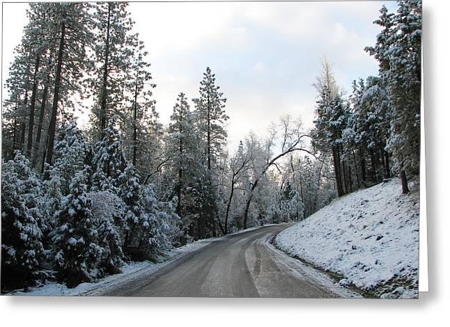 Winters Walk Greeting Card by Lydia Warner Miller