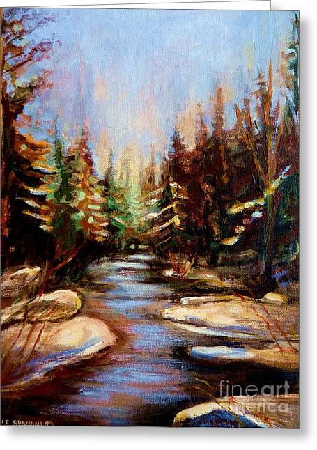 Spring In Maine Paintings Greeting Cards - Winterstream Greeting Card by Carole Spandau