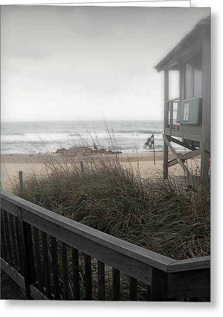 Sea Oats Greeting Cards - Wintery Beach Morning Greeting Card by Julie Palencia