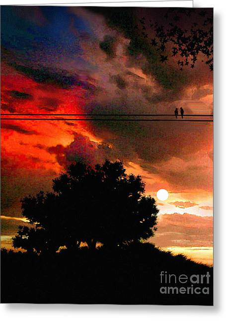 Sunset Greeting Cards Digital Art Greeting Cards - Wire Birds Greeting Card by Robert Foster