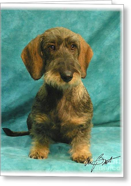 Wire Dachshund Pup Greeting Card by Maxine Bochnia