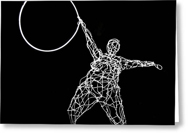Wire Mobile Greeting Cards - Wire Lady Holding Hoop Greeting Card by Tommy  Urbans