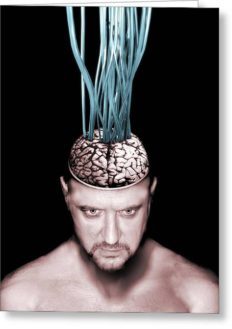 Brain Controlled Greeting Cards - Wired Brain Greeting Card by Victor Habbick Visions
