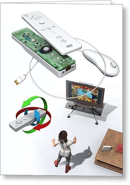Component Greeting Cards - Wireless Home Video Game System Greeting Card by Jose Antonio PeÑas