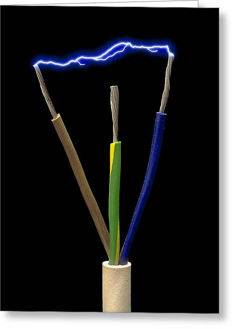 Electrical Plug Greeting Cards - Wires Of A 3-pin Plug Showing Spark Discharge Greeting Card by Victor De Schwanberg