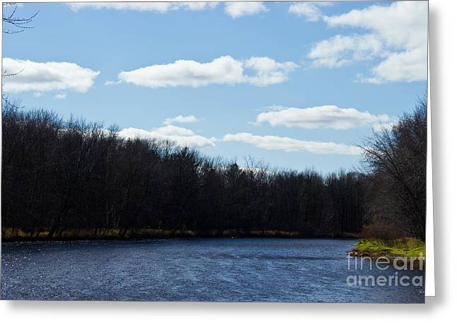 Park Scene Mixed Media Greeting Cards - Wisconsins Peshtigo River Greeting Card by Ms Judi