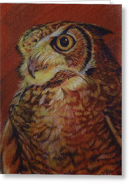 Wild Life Pastels Greeting Cards - Wisdom Greeting Card by Linda Harrison-parsons