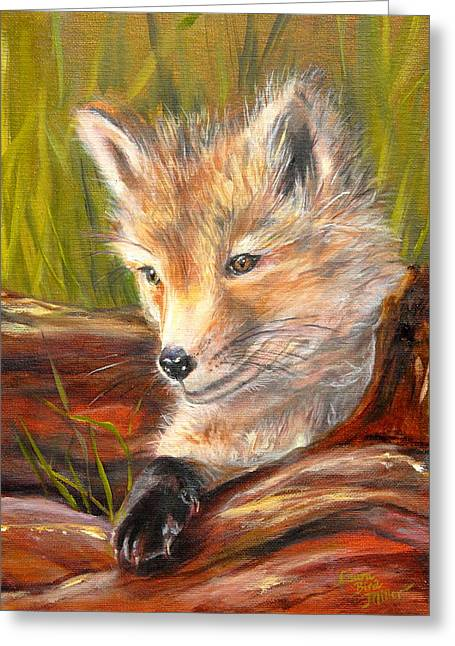 Fox Kit Paintings Greeting Cards - Wise as a Fox Greeting Card by Laura Bird Miller