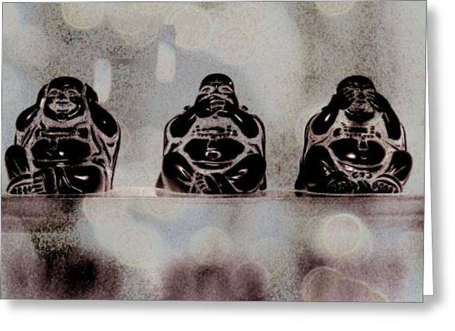 Hear No Evil Greeting Cards - Wise Buddhas Greeting Card by Tingy Wende