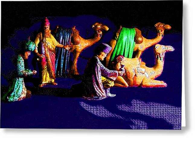 Tarjetas Greeting Cards - Wise Men and Camels Greeting Card by Estela Robles