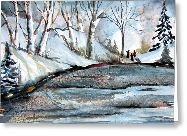 Winter Night Drawings Greeting Cards - Wisemen Greeting Card by Mindy Newman