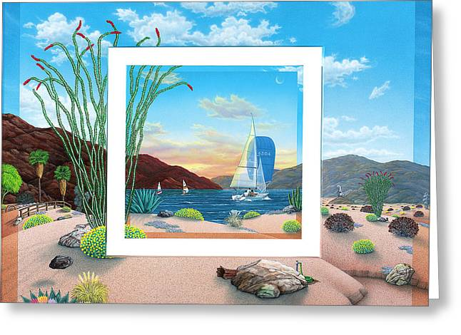 Desert Lake Greeting Cards - Wish You were Here Greeting Card by Snake Jagger
