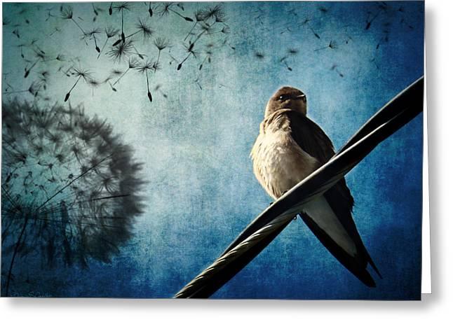 Layered Digital Art Greeting Cards - Wishing Swallow Greeting Card by Nancy  Coelho