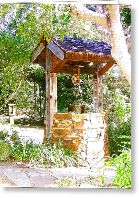 Wishing Well Greeting Cards - Wishing Well Cambria Pines Lodge Greeting Card by Arline Wagner