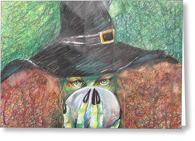 WITCH IN ACTION Greeting Card by Brigitte Hintner