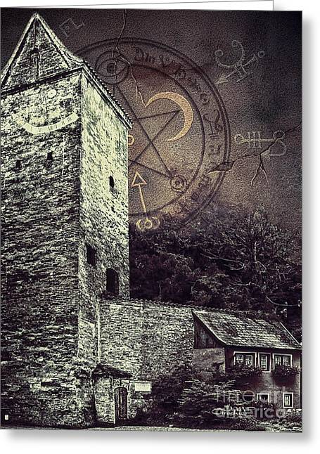 Old Town Digital Greeting Cards - Witch Tower Greeting Card by Jutta Maria Pusl