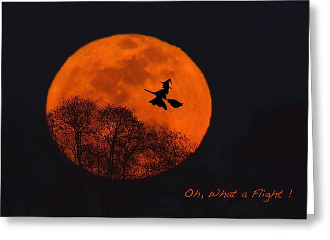 Flying Witch Greeting Cards - Witchy Moon Greeting Card by William Jobes