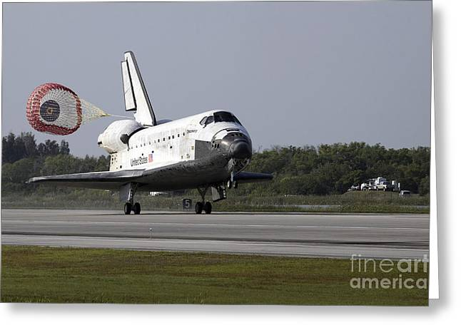Braking Greeting Cards - With Drag Chute Unfurled, Space Shuttle Greeting Card by Stocktrek Images