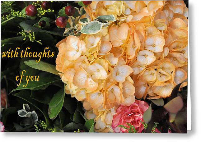 Apricot Greeting Cards - With Thoughts Of You Greeting Card by Jan Amiss Photography