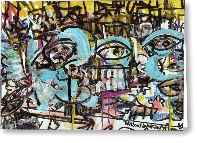 Raw Contemporary Graffiti Greeting Cards - Without Looking n7 Greeting Card by Robert Wolverton Jr