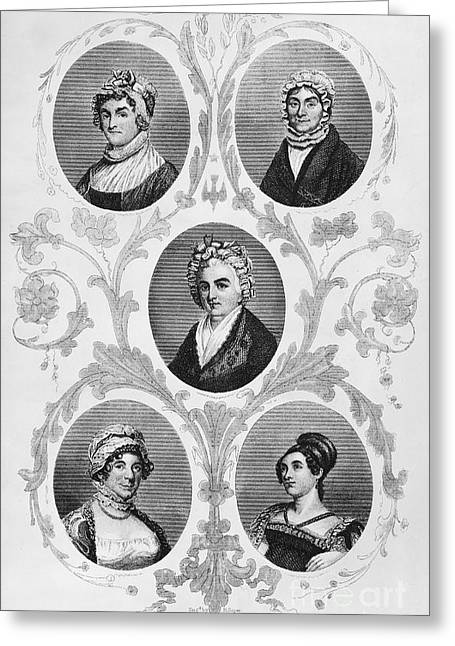 1700s Greeting Cards - Wives Of Founding Fathers Greeting Card by Granger