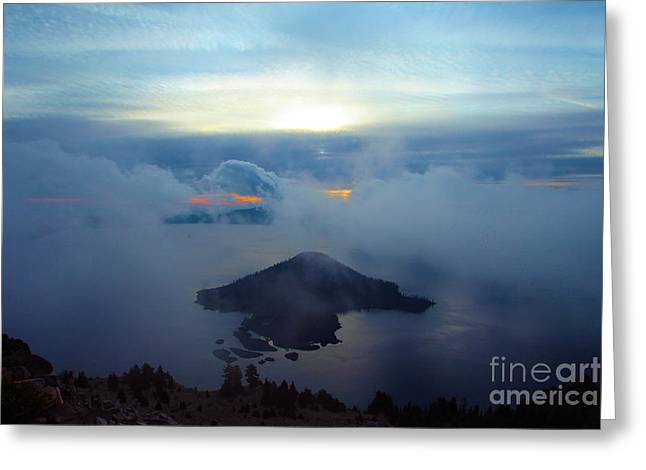 Crater Lake Sunset Greeting Cards - Wizard Island At Crater Lake Greeting Card by Adam Jewell