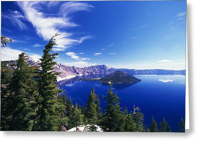 Crater Lake View Greeting Cards - Wizard Island At Crater Lake National Greeting Card by Natural Selection Craig Tuttle