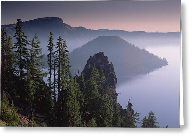 Wizard Island In The Center Of Crater Greeting Card by Tim Fitzharris