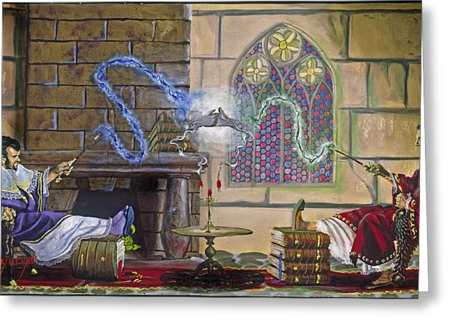 Purple Robe Greeting Cards - Wizards Duel Greeting Card by Jeff Brimley