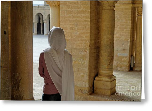 Religious Dress Greeting Cards - Wman wearing veil inside Kairouan Great Mosque Greeting Card by Sami Sarkis