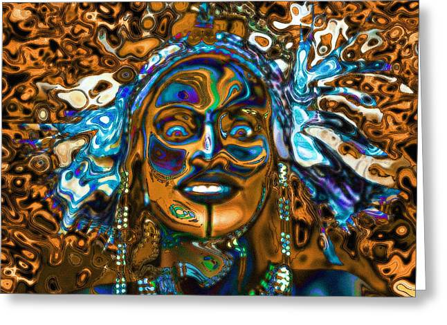 Africa Festival Greeting Cards - Wodaabe Blue Greeting Card by Jann Paxton