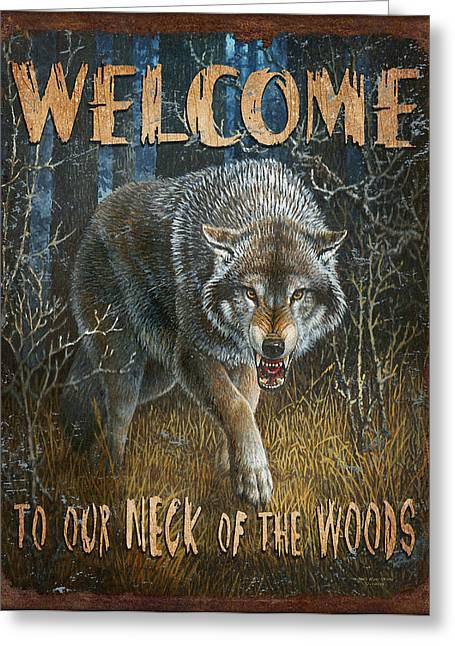 Cabin Greeting Cards - Wold Neck of the Woods Greeting Card by JQ Licensing