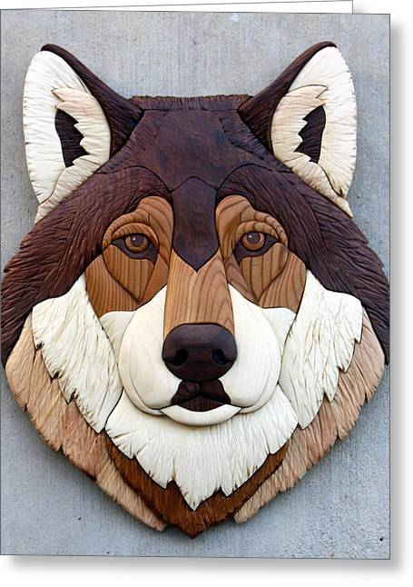 Intarsia Sculptures Greeting Cards - Wolf Greeting Card by Bill Fugerer