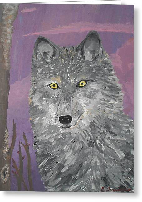 Wildife Paintings Greeting Cards - Wolf Greeting Card by Charisma Franklin