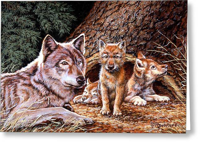 Family Greeting Cards - Wolf Den Greeting Card by Richard De Wolfe