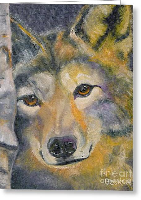 Wolves Drawings Greeting Cards - Wolf Friend Greeting Card by Susan A Becker