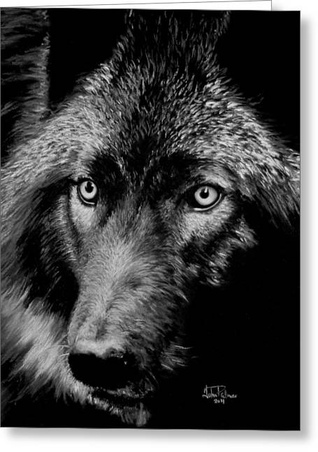 Gothic Pastels Greeting Cards - Wolf in moonlight  version A   Greeting Card by John  Palmer