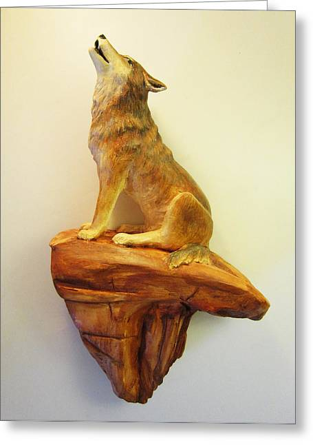 Desert Ceramics Greeting Cards - Wolf Greeting Card by Janet Knocke