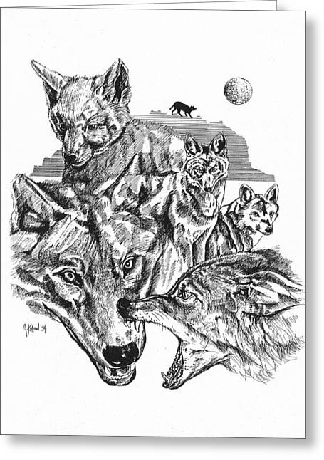 Wolves Drawings Greeting Cards - Wolf Life Cycle Greeting Card by John Keaton