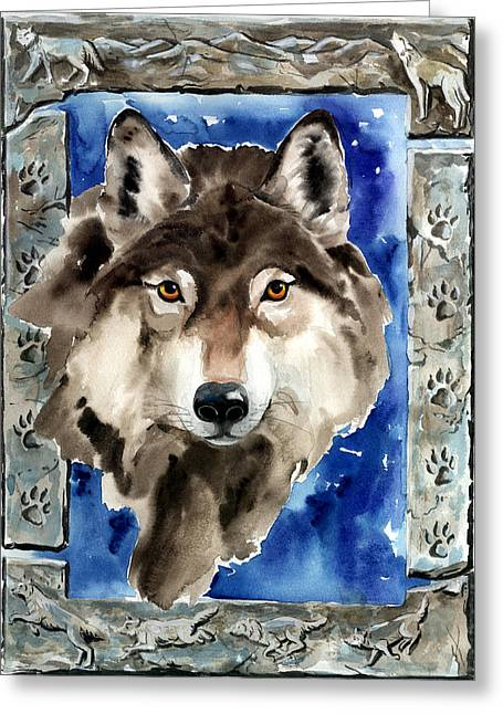 Nadi Spencer Paintings Greeting Cards - Wolf Greeting Card by Nadi Spencer
