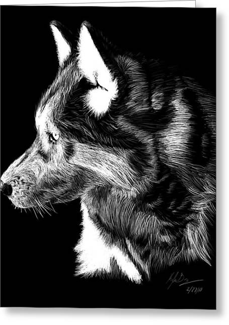 Crosshatching Greeting Cards - Wolf Scratch Board Greeting Card by Kyle Gray