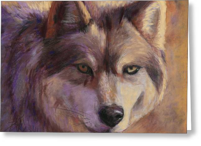 Hunting Pastels Greeting Cards - Wolf Study Greeting Card by Billie Colson