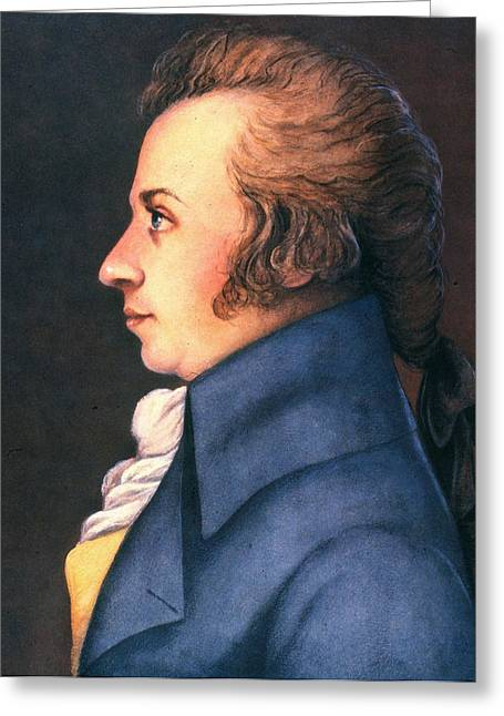 Sideburns Greeting Cards - Wolfgang Amadeus Mozart Greeting Card by Granger