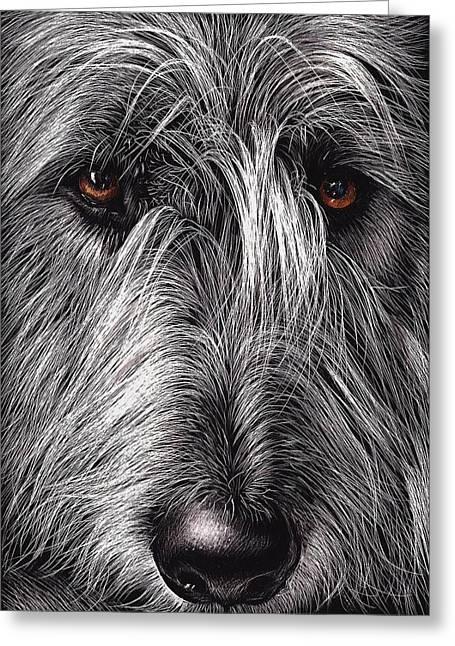Elena Kolotusha Greeting Cards - Wolfhound Greeting Card by Elena Kolotusha