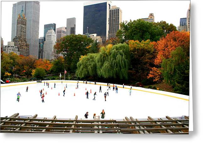 Wollman Rink Greeting Cards - Wollman Rink in Fall Greeting Card by Christopher Kirby