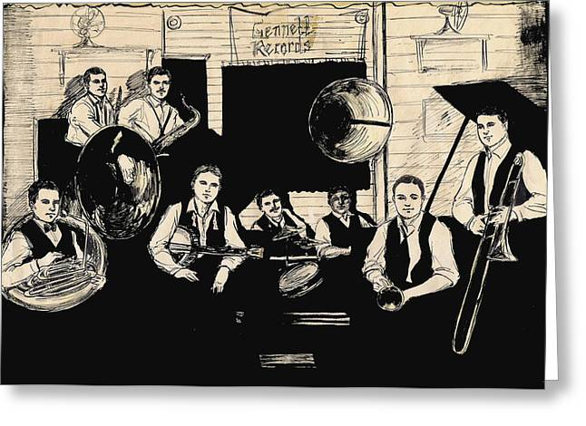 Recording Session Greeting Cards - Wolverines Recording Session Greeting Card by Mel Thompson