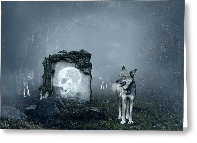 Haunted Digital Art Greeting Cards - Wolves guarding an old grave Greeting Card by Jaroslaw Grudzinski